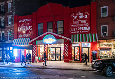 Mulberry Street (20191122-DSC09972) (Michael.Lee.Pics.NYC) Tags: newyork mulberrystreet littleitaly night street storefront christmas holiday lights decorations architecture cityscape sony a7rm4 zeissloxia21mmf28
