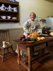 1. Early Thanksgiving morning (Foxy Belle) Tags: dollhouse 112 room colonial thanksgiving doll house kitchen work turkey prepare robe