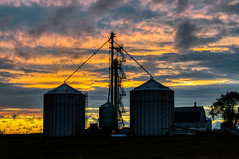 Watching the Sky - 6:55 (tquist24) Tags: hdr indiana nikon nikond5300 outdoor clouds color colorful evening farm field geotagged grainsilo outside rural silhouette sky soybeans sunset