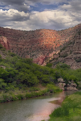 Verde Canyon River from a train (lgflickr1) Tags: a9 blue brown clouds daytime exterior earthtones flora green growth landscape mountains nature nopeople outside overcast pretty peaceful red rocks reflection river sony travel texture vacation valley water arizona verdecanyon riverbed bushes railroad