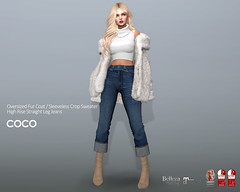 COCO New Release @Uber November 25th (cocoro Lemon) Tags: coco uber newrelease oversized fur coat sleeveless sweater highrise jeans mesh secondlife fashion maitreya belleza slink legacy
