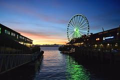 Wandering (jeffr71) Tags: seattle ferriswheel bay washington reflection dock restaraunt sky sunset thegreatwheel