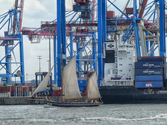 Hamburg Container Terminal Burchardkai (peterkaroblis) Tags: hamburg elbe germany container terminal schiff ship hochseekutter sailingship blau blue wasser water segel sails