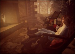 If it involves sitting by a crackling fire, count me in! 💋 (morganmonroe1) Tags: country fireside cabin coffee boots redhead ginger avatar sl secondlife