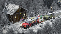 Christmas Defender Mission (Corvus Auriac MOCs) Tags: lego ideas contest land rover vehicle winter christmas presents caterpillar 4x4