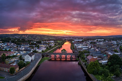 Strabane Town & The River Mourne (Gareth Wray - 13 Million Views, Thank You) Tags: water summer northern ireland bridge dji uav drone phantom 4 pro four p4p aerial main melvin wall street ni uk scenic landscape riverscape county tyrone gareth wray photography strabane wide lens sky tourist tourism mourne river site visit country side grass reflection reflections irish colourful derry council nature flowing town lifford day vacation holiday europe footbridge pedestrian walk 2019 foot sunset red