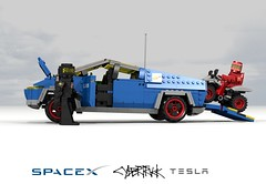 Telsa SpaceX CyberTruck (lego911) Tags: cybertruck cyber truck cybrtrck elon musk classic space mars spaceman auto car moc model miniland lego lego911 ldd render cad povray afol visionary bev battery electric vehicle spacex tesla