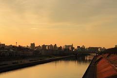 at Arakawa-Shinbashi, Akabane, Kita-ku, Tokyo, Japan (yasushiinanaga) Tags: landscape sunset downtown river orange sky canoneos6d ef2470mmf4lisusm 70mm