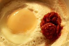 Sri Lankan Egg Hopper with Hot Chillie Paste (Chandana Witharanage) Tags: srilanka southasia macromondays mainmeal egghoppers hotchilliepaste riceflour coconutmilk dryactiveteast fresheggs salt sugar tabletop canoneos7d ef100mmf28lmacroisusm photographybychandanawitharanage