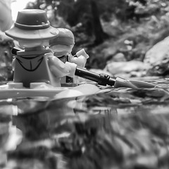 paddeling in the alps (genelabo) Tags: lego minifigure schwarz weiss black white bayern bavaria hiking wandern wanderung square quadrat alpen berge mountains alps view water wasser bach boat boot paddeln kuhfluchtwasserfälle farchant paddle