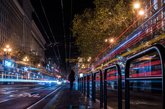 bus stop solitude (pbo31) Tags: sanfrancisco california nikon d810 color night dark november 2019 holidays boury pbo31 city black financialdistrict lightstream roadway motion traffic bus muni transit marketstreet