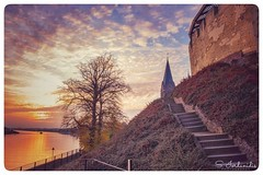 Fantasy (Stathis Iordanidis) Tags: sunset dramaticsunset sunsetview castle stairs panoramicview orangesky rivermaas kessel netherlands travelling idyllic serenity silence tranquility romanticsunset