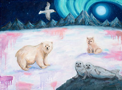 Nordlys (katrine brungaard+) Tags: painting oil oilpaint northeren lights aurora polar bear fullmoon ice snow