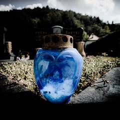 Love you Forever... in Blue (vale0065) Tags: blauw blue bulb candle kaars kaarshouder graveyard grave graf grafzerk tombstone tombe tomb kerkhof begraafplaats cemetary cemetery slovenia slovenië headstone light licht dood dead rust roest symetrie hearl hart hartje love liefde forever