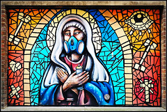 More artwork................. (Jason 87030) Tags: art artistic creative fun color colour jesus nun window effect spray can aerosol cross eye heart love blue bricks northampton northants northamptonshire image mask gas hands tattoos stained cros message cricifix