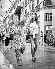 No me digas (Bart van Hofwegen) Tags: girls women people talk chat chatting talking walk walking street streetphotography monochrome blackandwhite málaga malaga urban city