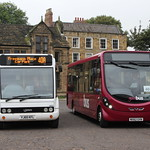 YOURBUS 1602 YJ60KFL AND 1202 MX62GVN ARE SEEN AT PALACE GREEN, DURHAM ON 18 OCTOBER 2013
