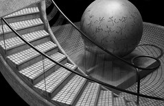 A staircase and a sphere (Robin Wechsler) Tags: sculpture bronze abstract patterns blackandwhite sanfrancisco