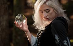 Questions (S.R.Murphy) Tags: bridgeoforchy dominque scotland model modelphotoshoot crystalball glass fujifilmxt2 fujifilmxf56mmf12 people portrait