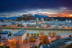 Salzburg. (Rudi1976) Tags: salzburg austria cityscape cathedral autumn sunset church sky mountainrange salzachriver riverside street tower city urbanscene town historicalbuilding 2019 europeanalps evening europe buildingexterior nopeople oldtown scenics history landmark architecture traveldestination tourism unesco outdoors downtown travel landscape urban aerial view historic