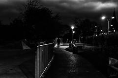 Encore un peu de nuit. (LACPIXEL) Tags: homme man hombre rue street calle marcher andar walking walk streetlight lampadaire farol barrière fence grille reja chemin path way tree arbre árbol clocher sony flickr lacpixel