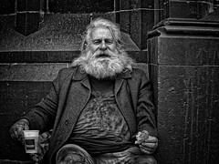 THE LAST SUPPER (NorbertPeter) Tags: man street supper people spontaneous portrait outdoor city urban cologne köln germany poverty homeless beard streetphotography streetportrait panasonic lumix gx8 monochrome blackandwhite bw
