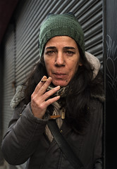 Spanish artist Patricia Alfonso (Charles Hamilton Photography) Tags: glasgow streetportrait characterstudy character naturallight trongate peopleinthecity primelens colourstreetportrait urbanportrait eyes winter winteringlasgow style stranger nikond750 shutters glasgowstreetphotography charleshamilton