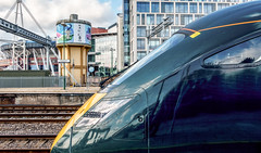 Cardiff Central (Peter Leigh50) Tags: class 800 azuma cardiff central station building water tower stadium platform train track railway railroad rail reflection fujifilm fuji xt2