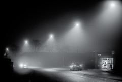 Uppsala, November 20, 2019 (Ulf Bodin) Tags: uppsala sverige mist väg sweden outdoor dimma lights road monochrome blackandwhite car canonrf85mmf12lusm fog autumn canoneosr höst urbanlife uppsalalän