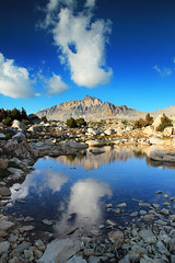 Murial Lake and Mt. Humphreys (photography by Derek G) Tags: wilderness landscape mountain lake water rock cloud reflection highsierra backpacking campinghiking wandering pond