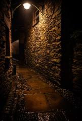 25th November 2019 (Rob Sutherland) Tags: ulverston light reflect reflections night rain wet flag stone ginnel passage lane threatening suspense foreboading scary cumbria cumbrian england english old oldfashioned uk