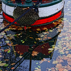 The Fallen (Croydon Clicker) Tags: canal london nikon nikkor leaves reflection rope barge water autumn fall nikkoraf28105mmd