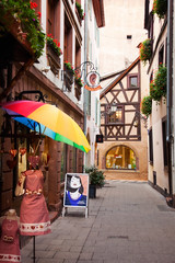 Umbrella Alley_8848 (hkoons) Tags: rhineriver rivercruise vikingrivercruise westerneurope worldheritagesite sandwichmeat city europe france rhine rhineland strasbourg strasburg unesco viking bites butter café cheese cruise dairy deli food grub meats oils old river sales sandwiches sausage ship store tour tourism tourist travel water