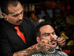 Boris (PentlandPirate of the North) Tags: boris blessed barber cutthroat madiera tattoo bodyart mafia mafiosa elchappo moustache haircut shave hairdresser candid