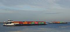 NOVUM & EXCELSIOR (kees torn) Tags: beerkanaal europoort binnenvaart containerschepen novum excelsior evergreen hapaglloyd one