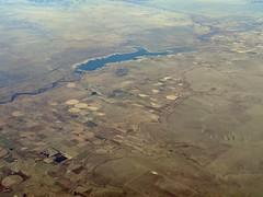 John Martin Reservoir and Las Animas (zeesstof) Tags: aerial aerialview businesstrip commercial commercialflight flight geo:lat=3821736851 geo:lon=10286697298 geotagged houstontodenver iahtoden triptodenver unitedairlines viewfromwindow zeesstof