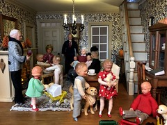 6. A full house (Foxy Belle) Tags: thanksgiving family living doll room 112 dollhouse caco party holiday black colonial tan simplicity toile