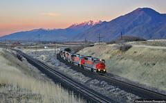 Overnight Run to the Mines (jamesbelmont) Tags: utahrailway coal mapleton utah mk503 sunset utahvalley spanishfork train railroad railway locomotive mttimpanogos