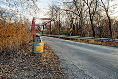 One lane bridges do exist! (LostOne1000) Tags: pentax2470f28edsdm building indiancreek plants indiancreektrail stream baretrees seasons equipment camera pentaxk1 oak autumn bridge nature water things fall trees locations marion pentax pentaxlenses road linncounty photography barn architecture transportation unitedstates iowa places cedarrapids unitedstatesofamerica