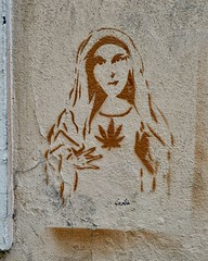 Our Lady of the Sacred Herb (WalrusTexas) Tags: abstract urban wall mural graffiti virginmary herb satire texture stencil