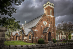 St. Luke's Episcopal Church (donnieking1811) Tags: tennessee cleveland episcopalchurch church stlukesepiscopalchurch crosses arches tower steps brick signs wall stones exterior outdoors sky clouds hdr canon 60d lightroom photomatixpro