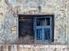 Blue door (sharon'soutlook) Tags: blue building demolished deconstructed stucco weeds hamiltonoh door