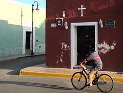 Valladolid (thomasgorman1) Tags: bicycle cyclist bicyclist man city valladolid street shadows lightpost building historic cross corner candid streetphotos streetshots mexico yucatan town