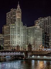 Wrigley Building (Wes Iversen) Tags: chicago chicagoriver dusablebridge illinois michiganavenue nikkor18300mm wendella wrigleybuilding architecture longexposure night skyscrapers