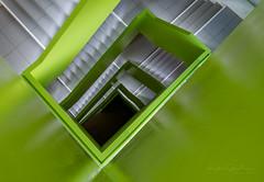 Nürnberg - Up and down the stairs (3) (Karsten Gieselmann) Tags: 714mmf28 architektur em1markii mzuiko microfourthirds olympus architecture kgiesel m43 mft nuremberg bavaria germany nürnberg stairs staircase treppenhaus grün green