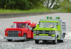 Red and Green (captain_j03) Tags: toy spielzeug 365toyproject lego minifigure minifig moc car auto 7wide dodge ram 250 gmc flatbed truck lorry crazytuesday transport