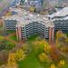 Luftbild des sternförmigen Gebäudes und Hauptverwaltung der SIGNAL IDUNA Gruppe Dortmund