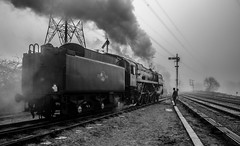 Oliver Cromwell (Peter Leigh50) Tags: great gcr gala central railway railroad rail rural train trees track fog foggy mist misty morning steam frost cold winter 2017 semaphore signal bw blackandwhite mono monochrome 7 class 70013 br oliver cromwell