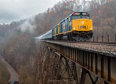 Extra Moist (Wheelnrail) Tags: csx copper creek trestle santa train virginia clinchfield emd f40phr bridge rain november mountains passenger trains widecab