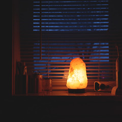 day 328 (Randomographer) Tags: project365 window sill casement salt lamp orange glow bathroom cup glass radio blinds shades dusk winter snowing outside composition indoors warm 323 365 vii 2019